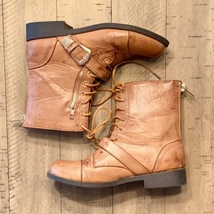 Bamboo Chestnut Lace Up Boots Size 7
